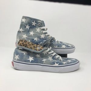 Van's Rare Acid Wash Star Denim & Cheetah High Top